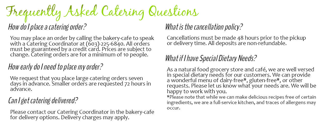 catering faq website